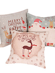 set od 3 čestit Božić pamuka / lana dekorativni jastuk naslovnici 2