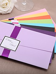 """Přizpůsobeno Složený Svatební Pozvánky Pozvánky-20 Kusů v sadě Klasický styl Lepenkový papír 8 ½""""×4 ½"""" (21,5*11,5 cm) Stuhy"""