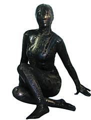 černá lesklá metalíza celého těla Zentai
