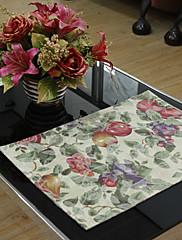 4国マルチカラージャガード花ポリエステル綿混紡のプレースマットのセット