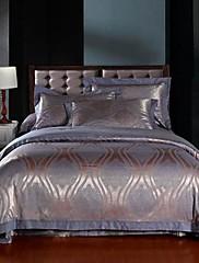 セット4ピース紫パターンジャガード綿布団カバー