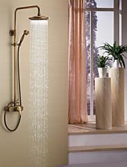 Starožitné Sprchový systém Dešťová sprcha Včetne sprchové hlavice with  Keramický ventil Single Handle tři otvory for  Starožitná mosaz ,