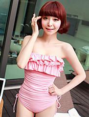 dámské celistvá barva sexy jednodílné plavky s volánky podprsenky polštářky