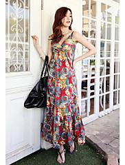bohemian letní růže tisk popruh plážové šaty