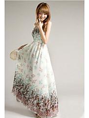 bohemia květinové šifónová košilka šaty (bílá)