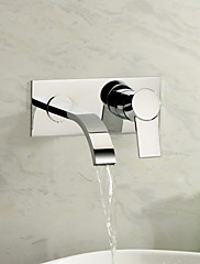 Contemporary Wall Mounted Waterfall with  Ceramic Valve Single Handle Two Holes for  Chrome , Bathroom Sink Faucet