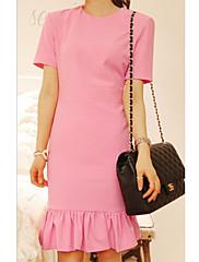 Dámské Barvou nařasené šaty Hem