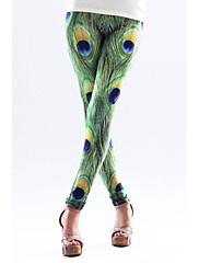 グリーンピーコックフェザー柄レギンス(ウエスト:58〜79センチメートル、ヒップ:90-104センチメートル、長さ:95センチメートル)