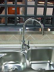 現代のクローム仕上げシングルハンドル回転真鍮キッチン蛇口
