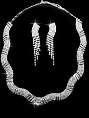 銀合金のラインストーンセット凛とネックレスとイヤリング