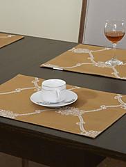 4幾何学的な印刷されたポリエステル綿混紡黄金ランチョンマットのセット