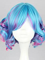 ロリータウィッグ ロリータパンク カラーグラデーション ショート / カール ブルー / フクシア ロリータウィッグ 35 CM コスプレウィッグ パッチワーク かつら のために 女性