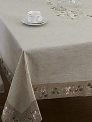 伝統的なリネンベージュフローラルテーブルクロス