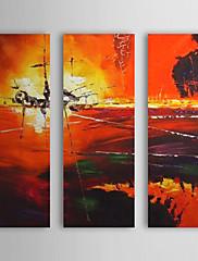 Ručně malované Abstraktní / Abstraktní krajinka Tři panely Plátno Hang-malované olejomalba For Home dekorace