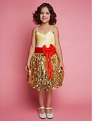 Plesové šaty Ke kolenům Šaty pro květinovou družičku - Krajka Satén Špagetová ramínka s Mašle Flitry Boční řasení Křížení