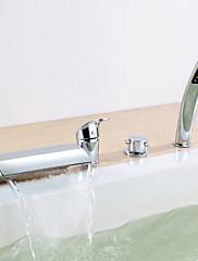 Chrom Double Kliky čtyři otvory Tub baterie s ruční sprchou