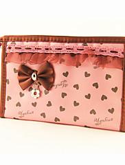 ブリーフケースパターンミラーピンク愛するハートちょうに/化粧品バッグメイクアップ