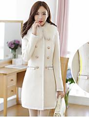CHAOLIU女性の韓国のスリム毛皮つばの長い袖のコート