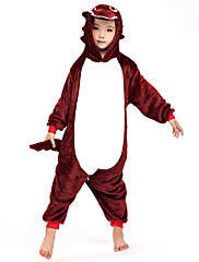 狡猾なパープリッシュレッドウルフフランネルキッズ着ぐるみパジャマ