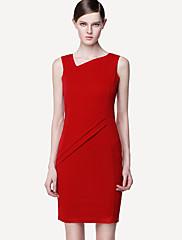 Dámská V krku záhyby Podrobnosti Mini Dress