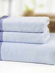バスタオルセット、3パックテリー100パーセント竹繊維撚り糸ウェーブ印刷(1バスタオル、ハンドタオル2)