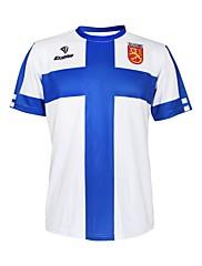KOOPLUS - フィンランドナショナルチームポリエステル+ライクラ半袖ブルー+ホワイトサイクリングTシャツ