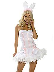 純粋なバニーガールホワイトポリエステル女性のカーニバルパーティー衣装