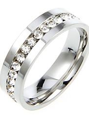 Klasická Titanium S drahokamu Silver Unisex prstenů