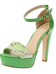 レザー女性のチャンキーヒールサンダルの靴パンプス