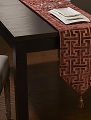 ヨーロピアンスタイルのglimmarベロアスライバーは、赤いチェックのテーブルランナーをカット