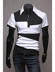 Wshgyy Pánské Kontrast Barva Nový styl Nepravidelné Short Sleeve T-Shirt