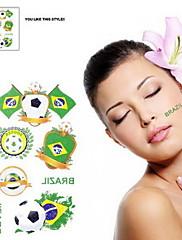 2ks Fotbal vzor Brazil World Cup Vodotěsné tetování těla Dočasné Glitter Samolepky