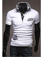 Wshgyy Pánské Bodycon s krátkým rukávem klopě Neck White T-Shirt