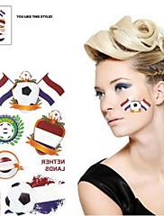 2ks Fotbal vzor Nizozemsko Světový pohár Vodotěsné tetování těla Dočasné Glitter Samolepky