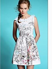 dámské květinovým potiskem rukávů kulatým výstřihem mini šaty