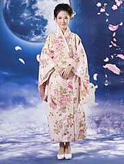 日本の女の子桜柄ピンクポリエステル女性の民族衣装