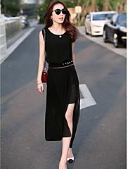 michaela evropské rukávů šifon slim šaty (black) -1211