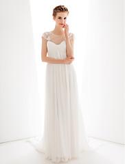 LANティンシース/列のウェディングドレス - アイボリースイートハート掃引/ブラシ列車シフォン
