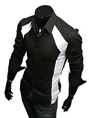 Wshgyy Pánské Kontrast Barva Bodycon s dlouhým rukávem klopě Neck Black Shirt