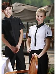クラスプ付きのレストランの制服半袖ウェイターブラウス