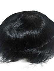 6 palců jet černé vlasy, systém pro muže příčesek Transplantace vlasů, velikost nastavitelná, bělené uzlů přední