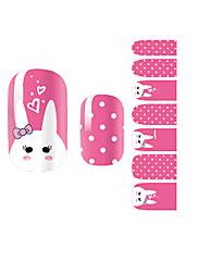 yemannvyou®14pcs růžový králík módní nail art samolepky