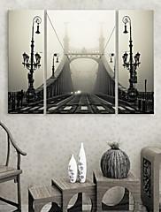 Protezala Canvas print umjetnosti Arhitektura Birdge maglom Set od 3