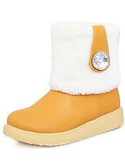 婦人靴ラウンドつま先の雪のブーツ入手ラインストーンより多くの色を持つ低ヒール半ばふくらはぎブーツ
