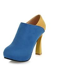 女性の靴利用できるジッパーより多くの色を持つ丸いつま先スプールヒールアンクルブーツ