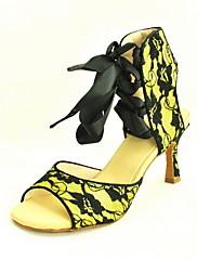 リボンが付いているカスタマイズされた女性のレースアンクルストラップ/ラテン社交ダンスの靴(多くの色)