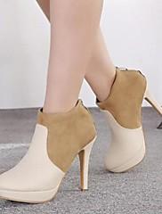 女性の靴は、丸いつま先スチレットヒールのアンクルブーツをshimandi