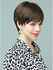 bez krytky krátké hnědé vlnité 100% lidské vlasy, paruky