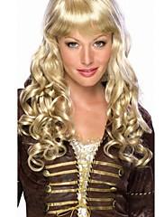 女性の長い巻き毛の黄金のパフの毛のかつらをマスカレード