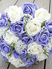 flores hechas a mano de la boda ramos de novia de seda broche de perlas artificiales de Rose flor novia ramo de novia (más colores)